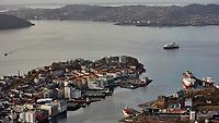 Hurtigruten MS Nordkapp approaching Bergen. View from Mount Fløyen. Image taken with a Nikon 1 V2 camera and 10-110 mm lens.