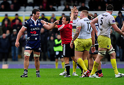 Bristol Rugby Lock (#4) Mariano Sambucetti argues with Leeds Carnegie replacement (#17) Charlie Beech - Photo mandatory by-line: Dougie Allward/JMP - Tel: Mobile: 07966 386802 13/10/2013 - SPORT - FOOTBALL - RUGBY UNION - Memorial Stadium - Bristol - Bristol Rugby v Leeds Carnegie - B&I Cup
