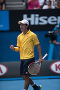 Kei Nishikori (JPN) presented a strong challenge to number one seeded R. Nadal (ESP) in the men's singles division in day eight of the Australian Open. Nadal struggled at times and required a medical time out to tape his hands but he ended the day winning 7-6 (3), 7-5, 7-6 (3). The match was held at Melbourne's Rod Laver Arena.