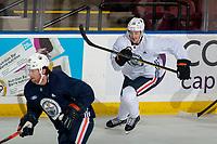 KELOWNA, BC - SEPTEMBER 22:  Josh Archibald #15 of the Edmonton Oilers skates during practice at Prospera Place on September 22, 2019 in Kelowna, Canada. (Photo by Marissa Baecker/Shoot the Breeze)