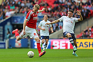 Swindon Town's Michael Smith shoots for goal during the Sky Bet League 1 Play Off Final match between Preston North End and Swindon Town at Wembley Stadium, London, England on 24 May 2015. Photo by Shane Healey.