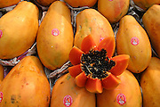 Papayas on display, Cuernavaca municipal market, Mexico. (Supporting image from the project Hungry Planet: What the World Eats.)