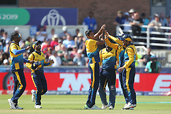 July 1, 2019 - Chester Le Street, County Durham, United Kingdom - Sri Lanka celebrate after Dhananjaya de Silva ran out Shimron Hetmyer during the ICC Cricket World Cup 2019 match between Sri Lanka and West Indies at Emirates Riverside, Chester le Street on Monday 1st July 2019. (Credit Image: © Mi News/NurPhoto via ZUMA Press)