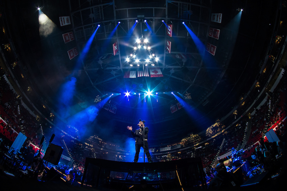 The Weeknd performing at the PNC Arena
