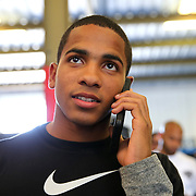 ORLANDO, FL - Felix Verdejo talks on the phone to a fan during a media day workout at the Orlando Sports Martial Arts Academy on October 2, 2014 in Orlando, Florida. (Photo by Alex Menendez/Getty Images) *** Local Caption *** Felix Verdejo