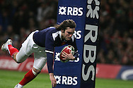 Alexis Palisson of France scores the opening try. RBS Six nations championship 2010, Wales v France at the Millennium Stadium in Cardiff on Friday 26th Feb 2010. picture by Andrew Orchard