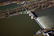 Nederland, Limburg, Roermond, 07-03-2010; Maas, stuw met met vistrap. Boven in beeld de naastgelegen schutsluis ..Maas, weir with fish ladder. Top the the adjacent lock for shipping..luchtfoto (toeslag), aerial photo (additional fee required);.foto/photo Siebe Swart