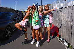 © Licensed to London News Pictures. 01/05/2021. Liverpool ,UK. Revellers arrive at Circus night club in Bramley-Moore Dock,Liverpool, to attend a Covid-19 pilot event.  Photo credit: Ioannis Alexopoulos/LNP