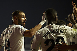 February 24, 2019 - Valencia, Valencia, Spain - Karim Benzema of Real Madrid celebrates after scoring his sides first goal whit Vinicius Junior during the week 25 of La Liga match between Levante UD and Real Madrid at Ciutat de Velencia Stadium in Valencia, Spain on February 24, 2019. (Credit Image: © Jose Breton/NurPhoto via ZUMA Press)
