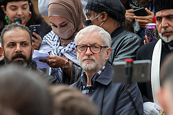 © Licensed to London News Pictures. 16/05/2021. Oxford, UK. Former Labour Party leader Jeremy Corbyn waits to address the crowd in Bonn Square at the 'Speak up for Palestine' demonstration held in Oxford, the crowd marched on the planned route from Manzil Way to Bonn Square in central Oxford. Photo credit: Peter Manning/LNP