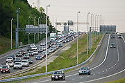 Traffic on freeway, outskirts of Washington DC, USA
