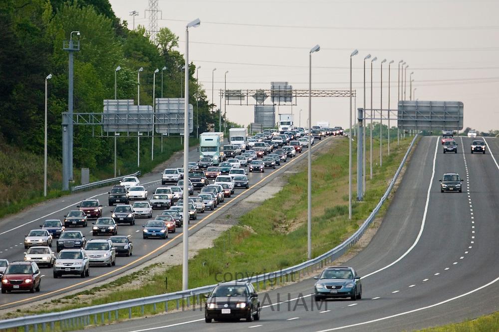 Traffic on freeway, outskirts of Washington DC, USA