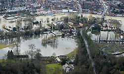 © London News Pictures. 09/02/2014. Henley-on-Thames, UK.  Aerial view showing flooding covering Henley-on-Thames, Oxfordshire. The Thames river has hit record levels causing extensive flooding to parts of the southeast of England. Photo credit : Ben Cawthra/LNP