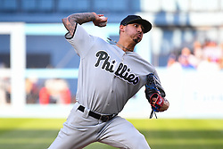 May 28, 2018 - Los Angeles, CA, U.S. - LOS ANGELES, CA - MAY 28: Philadelphia Phillies pitcher Vince Velasquez (28) throws a pitch during a MLB game between the Philadelphia Phillies and the Los Angeles Dodgers on Memorial Day, May 28, 2018 at Dodger Stadium in Los Angeles, CA. (Photo by Brian Rothmuller/Icon Sportswire) (Credit Image: © Brian Rothmuller/Icon SMI via ZUMA Press)