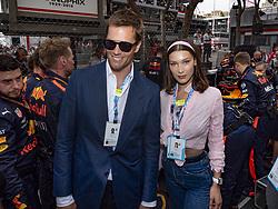 Tom Brady, Bella Hadid pose along the starting grid during the 76th Monaco Grand Prix. Monaco on May 27, 2018. Photo by Marco Piovanotto/ABACAPRESS.COM