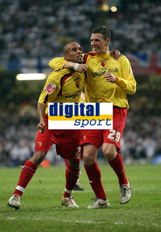 Photo: Rich Eaton.<br /> <br /> Leeds United v Watford. Coca Cola Championship. Play off Final. 21/05/2006.<br /> <br /> Marlon Jones and Darius Henderson celebrate Watfords second goal