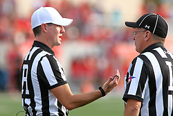 29 October 2016:  Referee Rich Edwards speaking with Line Judge Gary Barrett.  NCAA FCS Football game between South Dakota State Jackrabbits and Illinois State Redbirds at Hancock Stadium in Normal IL (Photo by Alan Look)