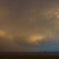 A stormy sunset over the Gobi Desert near Dalanzadgad, Mongolia.