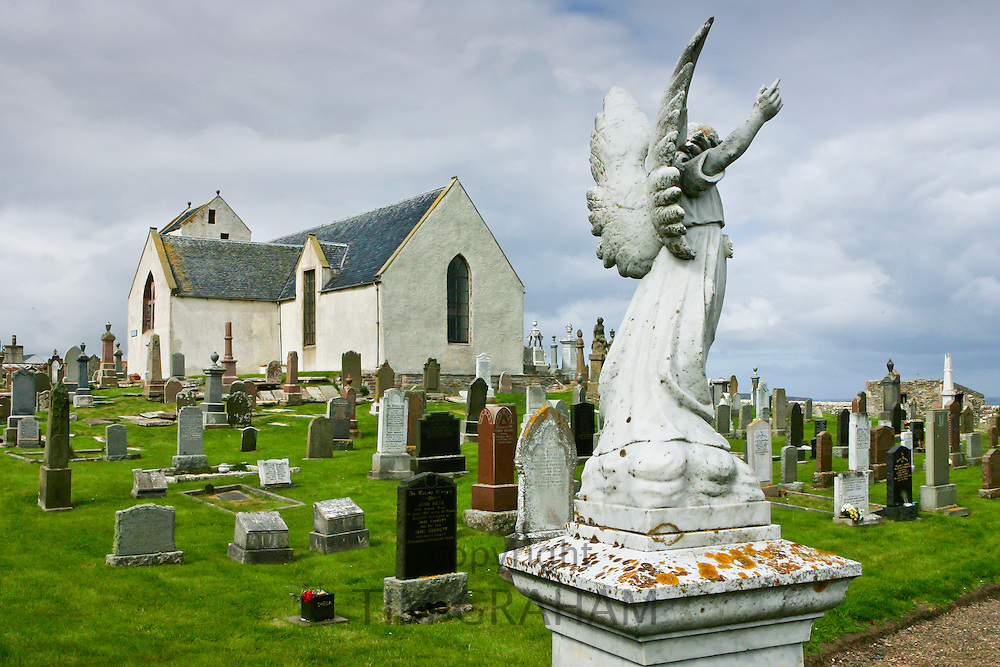 Cainsbay church and graveyard in Caithness, Scotland, United Kingdom
