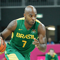 31 July 2012: Brazil Larry Taylor dribbles during 67-62 Team Brazil victory over Team Great Britain, during the men's basketball preliminary, at the Basketball Arena, in London, Great Britain.