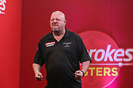Mervyn King beats Gerwyn Price in the semi-final and celebrates during the PDC Ladbrokes Masters 2021 at Marshall Arena, Milton Keynes, United Kingdom on 31 January 2021.