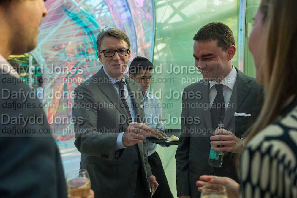 LORD PETER MANDELSON; Reinaldo Avila da Silva, Serpentine's Summer party co-hosted with Christopher Kane. 15th Serpentine Pavilion designed by Spanish architects Selgascano. Kensington Gardens. London. 2 July 2015.