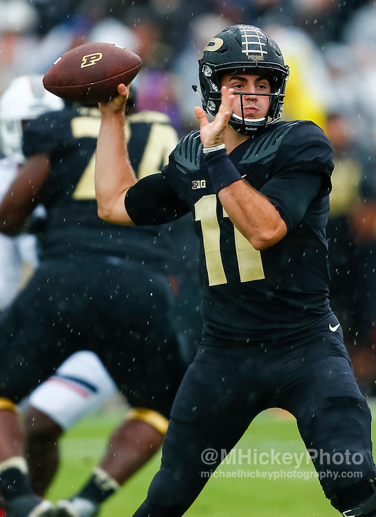 WEST LAFAYETTE, IN - SEPTEMBER 10: David Blough #11 of the Purdue Boilermakers is seen during the game against the Cincinnati Bearcats at Ross-Ade Stadium on September 10, 2016 in West Lafayette, Indiana.  (Photo by Michael Hickey/Getty Images) *** Local Caption *** David Blough