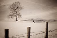 A young man nordic skis in Teton Valley, Idaho.