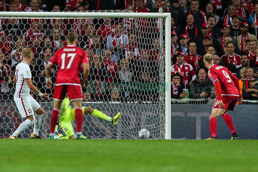 September 1, 2017 - Copenhagen, Denmark - Nicolai Jorgensen (DEN) score a goal,  during the FIFA 2018 World Cup Qualifier between Denmark and Poland at Parken Stadion on September 1, 2017 in Copenhagen. (Credit Image: © Foto Olimpik/NurPhoto via ZUMA Press)