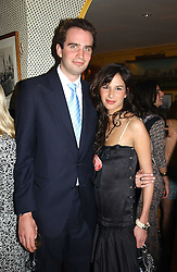 FRITZ VON WESTENHOLTZ and CAROLINE SIEBER at a private dinner and presentation of Issa's Autumn-Winter 2005-2006 collection held at Annabel's, 44 Berkeley Square, London on 15th March 2005.<br />