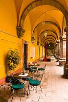 Cafe in courtyard, Insituto de Bellas Artes, Centro Cultural Ignacio Ramirez (El Nigromante), San Miguel de Allende, Mexico
