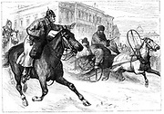 Unrest in Russia:  Mounted Secret Police in St Petersburg waving down a horse-drawn sledge carrying a possible suspect. Various attempts were made on the life of  Alexander II, including one on 2 March 1880, culminating in his assassination on 13 March 1881.