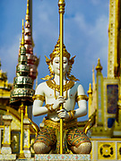 13 DECEMBER 2017 - BANGKOK, THAILAND:  A royal guard statue at the Royal Crematorium on Sanam Luang in Bangkok. The crematorium was used for the funeral of Bhumibol Adulyadej, the Late King of Thailand. He was cremated on 26 October 2017. The crematorium is open to visitors until 31 December 2017. It will be torn down early in 2018. More than 3 million people have visited the crematorium since it opened to the public after the cremation of the King.    PHOTO BY JACK KURTZ