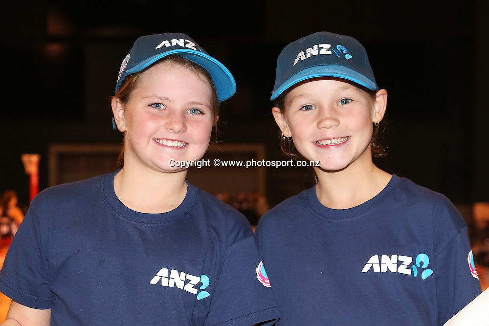 ANZ future captains Brieanna Cox and Olivia Glen both 9 years old before the ANZ Championship Netball between Mainland Tactix v NSW Swifts, held at CBS Arena, Christchurch. 9 March 2014 Photo: Joseph Johnson/www.photosport.co.nz
