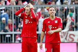 15.10.2011, Allianz Arena, Muenchen, GER, 1.FBL,  FC Bayern vs Hertha BSC Berlin, im Bild  Bastian Schweinsteiger (Bayern #31) und Franck Ribery (Bayern #7) nach dem Spiel// during the match FC Bayern vs Hertha BSC Berlin, on 2011/10/15, Allianz Arena, Munich, Germany, EXPA Pictures © 2011, PhotoCredit: EXPA/ nph/  Straubmeier       ****** out of GER / CRO  / BEL ******