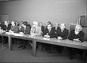 Fianna Fail Front Bench at Press Conference January 1982..1982-01-14.14th January 1982..14/01/1982.01-14-82...Charles Haughey presents his front bench to the waiting media..Pictured at Leinster House..From Left: ..George Colley TD: Deputy Leader and Spokesman on Energy..Charles Haughey TD: Leader of the Opposition..Ray Burke TD: Leader of the House..Sean Moore TD: Spokesman on Social Welfare..Gene Fitzgerald TD: Spokesman on Labour and Public Service..Martin O'Donoghue TD: Spokesman on Finance.. .
