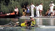 Barcelona Olympics 1992 - Lake Banyoles, SPAIN, AUS M2X  stroke, ANTONIE Peter,.HAWKINS Stephen Mark,  Photo: Peter Spurrier/Intersport Images.  Mob +44 7973 819 551/email images@intersport-images.com