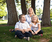 """Melissa Moore, author of """"Shattered Silence: The Untold Story of a Serial Killer's Daughter"""", with children Aspen 8, Jake 5, and husband Sam.   Melissa Moore is the daughter of Keith Hunter Jesperson, the so-called """"Happy-Face Killer""""."""