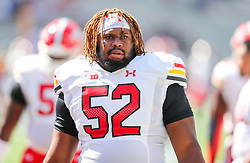 Sep 4, 2021; College Park, Maryland, USA; Maryland Terrapins offensive lineman Evan Gregory (52) warms up prior to their game against the West Virginia Mountaineers at Capital One Field at Maryland Stadium. Mandatory Credit: Ben Queen-USA TODAY Sports