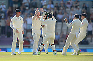 Ben Stokes and England celebrate the wicket of Hardik Pandya during the fourth day of the 4th SpecSavers International Test Match 2018 match between England and India at the Ageas Bowl, Southampton, United Kingdom on 2 September 2018.