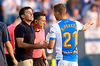 CD Leganes' coach Asier Garitano (l) with Ruben Perez during La Liga match. August 18,2017. (ALTERPHOTOS/Acero)