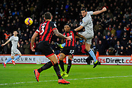Andy Carroll (9) of West Ham United heads the ball across the goal mouth to set up Michail Antonio (30) of West Ham United who's shot at goal misses the target during the Premier League match between Bournemouth and West Ham United at the Vitality Stadium, Bournemouth, England on 19 January 2019.