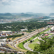 A view out over the Port of Balboa and the entrance of the Panama Canal from the top of Ancon Hill. Ancon Hill is only 654-feet high but commands an impressive view out over the new and old sections of Panama City. With views out over both the Pacific Ocean and the entrance to the Panama Canal, the area was historically where the administration of the Panama Canal was centered and now has a mix of high-end residences and government departments.