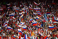 GEPA-1406086878 - SALZBURG,AUSTRIA,14.JUN.08 - FUSSBALL - UEFA Europameisterschaft, EURO 2008, Griechenland vs Russland, GRE vs RUS. Bild zeigt Fans von Russland. Keywords: Fahne.<br />Foto: GEPA pictures/ Felix Roittner