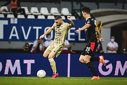Nino Kouter of Mura Olivier Boscagli of PSV Eindhoven during football match between NS Mura and PSV Eindhoven in Third Round of UEFA Europa League Qualifications, on September 24, 2020 in Stadium Fazanerija, Murska Sobota, Slovenia. Photo by Blaz Weindorfer / Sportida