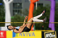 Super 8 athletics at the Cardiff International Stadium on Wed 10th June 2009. Adele Lassu of Manchester competing in the Women's high jump competition.