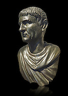 """Roman Bronze sculpture bust known as 'Sylla"""" from the tablinum of the Villa of the Papyri in Herculaneum, Museum of Archaeology, Italy, black background ..<br /> <br /> If you prefer to buy from our ALAMY STOCK LIBRARY page at https://www.alamy.com/portfolio/paul-williams-funkystock/greco-roman-sculptures.html . Type -    Naples    - into LOWER SEARCH WITHIN GALLERY box - Refine search by adding a subject, place, background colour, etc.<br /> <br /> Visit our ROMAN WORLD PHOTO COLLECTIONS for more photos to download or buy as wall art prints https://funkystock.photoshelter.com/gallery-collection/The-Romans-Art-Artefacts-Antiquities-Historic-Sites-Pictures-Images/C0000r2uLJJo9_s0"""