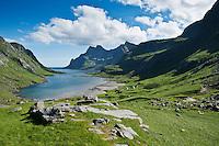 View toward villages of Vindstad and Bunesfjorden, Moskenesoya, Lofoten islands, Norway