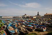 Boats in dock at the very most southern tip of India, Kanyakumari, Tamil Nadu, India. .