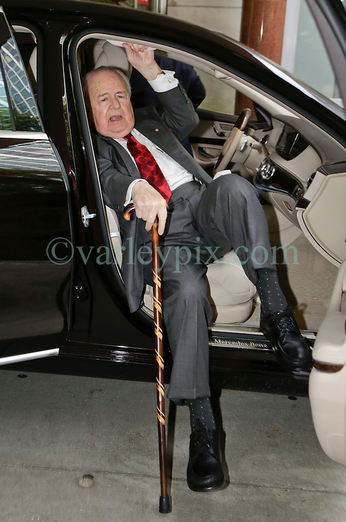 10 June  2015. New Orleans, Louisiana. <br /> Tom Benson, billionaire owner of the NFL New Orleans Saints, the NBA New Orleans Pelicans, various auto dealerships, banks, property assets and a slew of business interests arrives at New Orleans Civil District Court with his attorney Phillip Whitman where they are attending a hearing to determine Benson's level of competency to manage his business empire. Benson changed his succession plans and  decided to leave the bulk of his estate to third wife Gayle, sparking a controversial fight over control of the Benson business empire.<br /> Photo©; Charlie Varley/varleypix.com